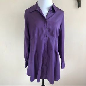 Soft Surroundings Fitted Waist Button Up Blouse